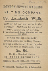 Advert for the London Sewing Machine & Kilting Company